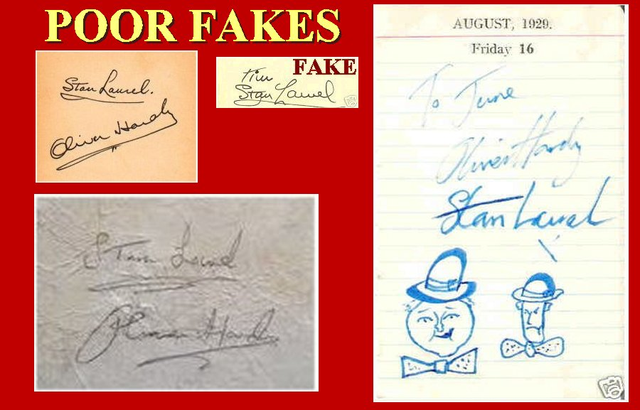 Laurel and Hardy FAKE AUTOGRAPHS