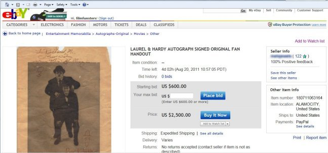 Laurel and hardy FAKE autograph