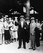 Laurel and hardy at the station