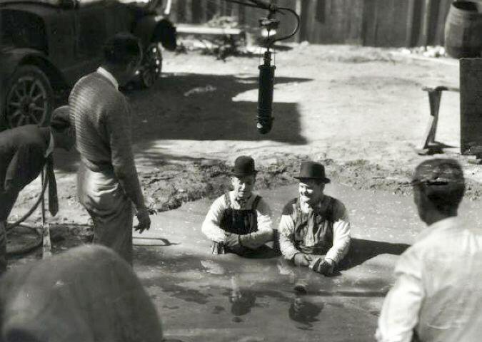 Laurel and Hardy TOWED in HOLE
