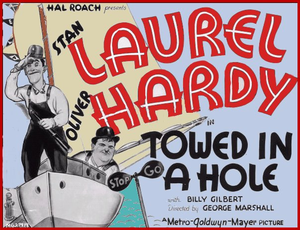 Laurel and hardy Towed in a Hole