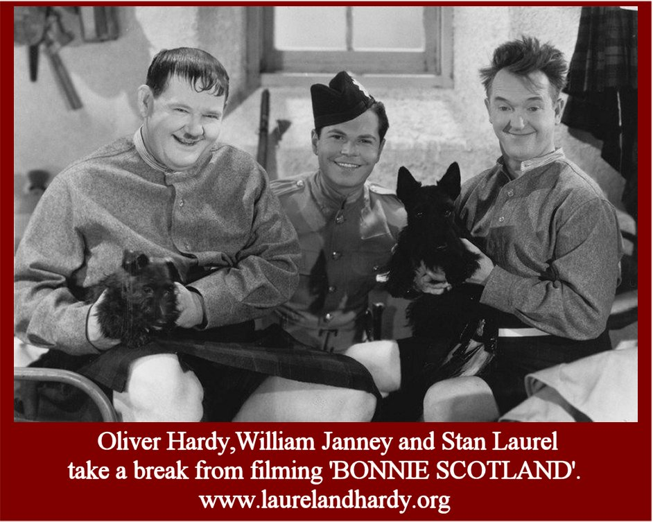 Laurel and Hardy with William Janney in Bonnie Scotland